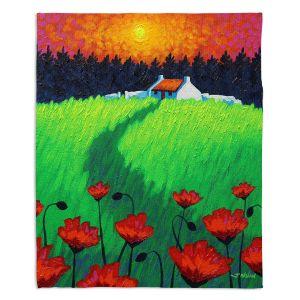 Decorative Fleece Throw Blankets | John Nolan - Poppy Sunset | landscape farm field nature