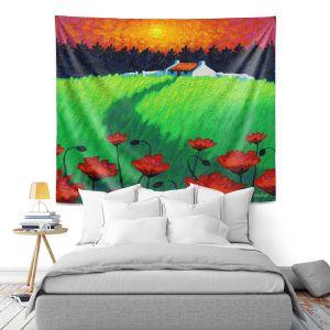Artistic Wall Tapestry   John Nolan - Poppy Sunset   landscape farm field nature