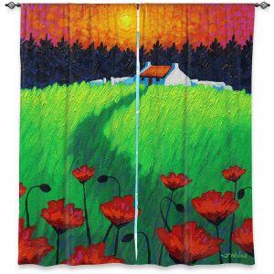 Decorative Window Treatments | John Nolan - Poppy Sunset | landscape farm field nature