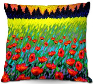 Decorative Outdoor Patio Pillow Cushion   John Nolan - Poppy Vista II