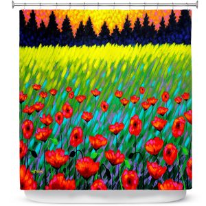 Unique Shower Curtains 71w x 74h Inches from DiaNoche Designs by John Nolan  - Poppy Vista II