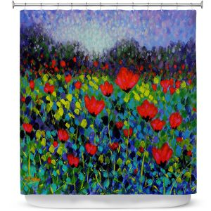 Unique Shower Curtain 69w x 72h inches from DiaNoche Designs by John Nolan - Poppy Vista
