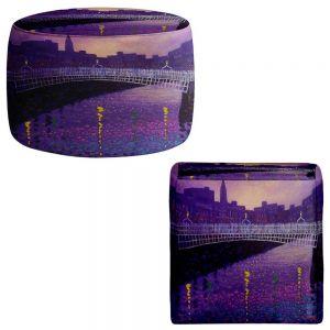 Round and Square Ottoman Foot Stools   John Nolan - Purple Mist Ha Penny Bridge