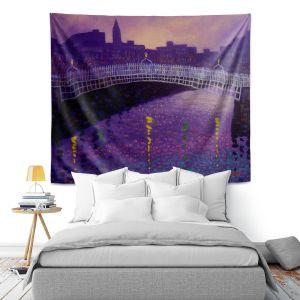 Artistic Wall Tapestry   John Nolan Purple Mist Ha Penny Bridge