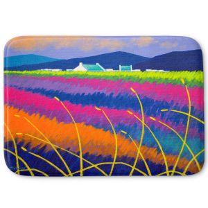 Decorative Bathroom Mats | John Nolan - Rainbow Meadow | surreal colors flowers landscape