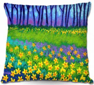Decorative Outdoor Patio Pillow Cushion | John Nolan - Spring Daffs II
