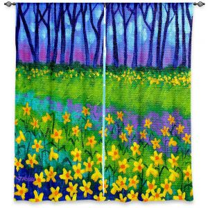 Unique Window Curtain Lined 40w x 61h from DiaNoche Designs by John Nolan - Spring Daffs II
