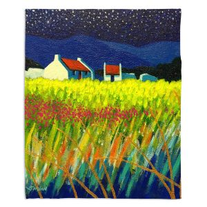 Decorative Fleece Throw Blankets | John Nolan - Starry Night | landscape farm field nature
