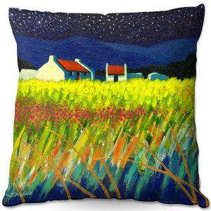 Decorative Outdoor Patio Pillow Cushion   John Nolan - Starry Night   landscape farm field nature