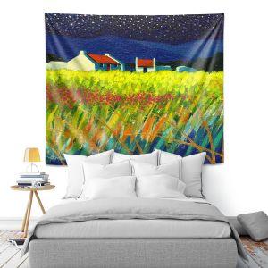 Artistic Wall Tapestry   John Nolan - Starry Night   landscape farm field nature