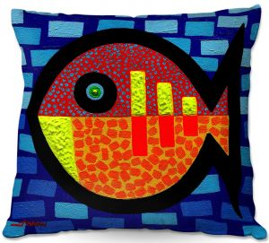 Unique Throw Pillows from DiaNoche Designs by John Nolan - Sunday Fish   18X18