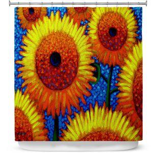 Premium Shower Curtains | John Nolan - Sunflowers 2 | still life nature flowers