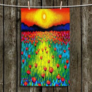 Unique Hanging Tea Towels | John Nolan - Sunlit Poppies | Sunset Flowers