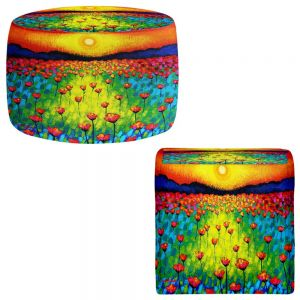 Round and Square Ottoman Foot Stools | John Nolan - Sunlit Poppies