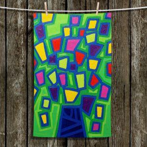 Unique Hanging Tea Towels | John Nolan - Tree of Life Green | abstract shapes simple nature