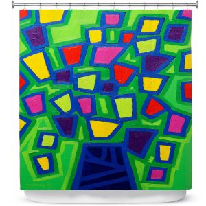 Premium Shower Curtains | John Nolan - Tree of Life Green | abstract shapes simple nature