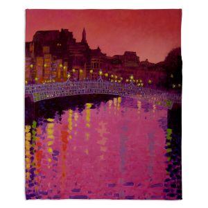 Decorative Fleece Throw Blankets   John Nolan - Twilight Ha Penny Bridge Dublin