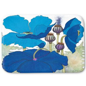 Decorative Bathroom Mats | Judith Figuiere - 3 Blue Poppies | Floral, Flowers