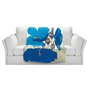 Artistic Sherpa Pile Blankets | Judith Figuiere - 3 Blue Poppies | Floral, Flowers