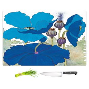 Artistic Kitchen Bar Cutting Boards | Judith Figuiere - 3 Blue Poppies | Floral, Flowers