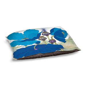 Decorative Dog Pet Beds | Judith Figuiere - 3 Blue Poppies | Floral, Flowers