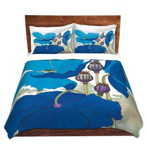 Artistic Duvet Covers and Shams Bedding | Judith Figuiere - 3 Blue Poppies | Floral, Flowers