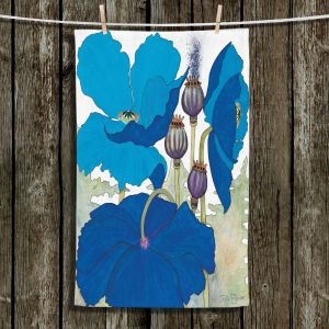 Unique Hanging Tea Towels | Judith Figuiere - 3 Blue Poppies | Floral, Flowers