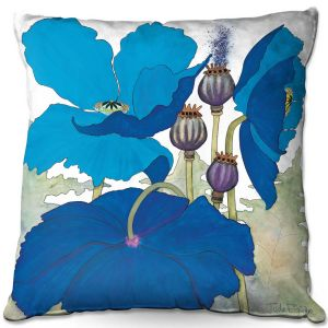 Decorative Outdoor Patio Pillow Cushion | Judith Figuiere - 3 Blue Poppies | Floral, Flowers