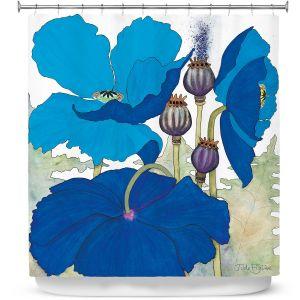 Premium Shower Curtains | Judith Figuiere - 3 Blue Poppies | Floral, Flowers