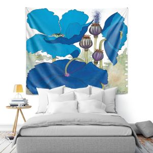 Artistic Wall Tapestry | Judith Figuiere - 3 Blue Poppies | Floral, Flowers