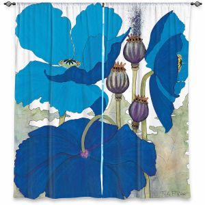 Decorative Window Treatments | Judith Figuiere - 3 Blue Poppies | Floral, Flowers