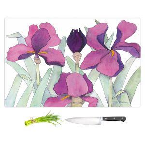 Artistic Kitchen Bar Cutting Boards | Judith Figuiere - 3 Iris | Floral, Flowers
