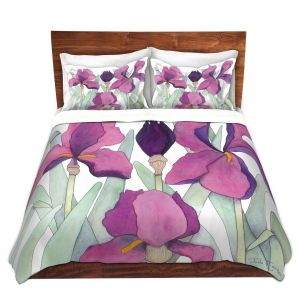 Artistic Duvet Covers and Shams Bedding | Judith Figuiere - 3 Iris | Floral, Flowers