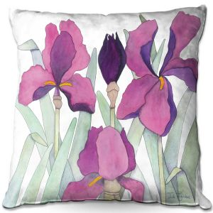 Decorative Outdoor Patio Pillow Cushion | Judith Figuiere - 3 Iris | Floral, Flowers