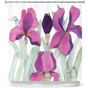 Premium Shower Curtains | Judith Figuiere - 3 Iris | Floral, Flowers