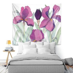 Artistic Wall Tapestry | Judith Figuiere - 3 Iris | Floral, Flowers