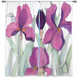Decorative Window Treatments   Judith Figuiere - 3 Iris   Floral, Flowers