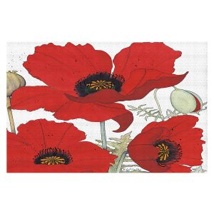 Decorative Floor Covering Mats | Judith Figuiere - 3 Red Poppies | Floral, Flowers