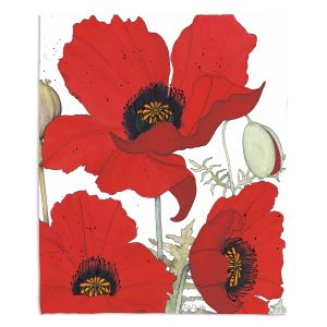 Artistic Sherpa Pile Blankets | Judith Figuiere - 3 Red Poppies | Floral, Flowers