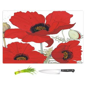 Artistic Kitchen Bar Cutting Boards | Judith Figuiere - 3 Red Poppies | Floral, Flowers