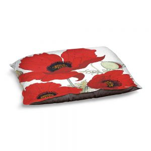 Decorative Dog Pet Beds | Judith Figuiere - 3 Red Poppies | Floral, Flowers
