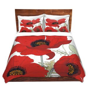 Artistic Duvet Covers and Shams Bedding | Judith Figuiere - 3 Red Poppies | Floral, Flowers