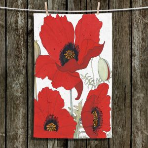 Unique Hanging Tea Towels | Judith Figuiere - 3 Red Poppies | Floral, Flowers