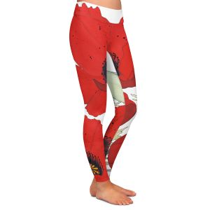 Casual Comfortable Leggings | Judith Figuiere - 3 Red Poppies | Floral, Flowers