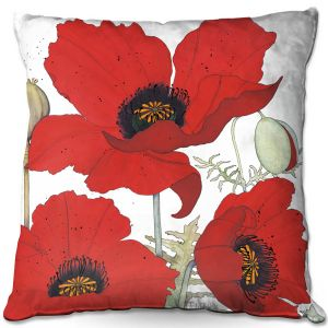 Decorative Outdoor Patio Pillow Cushion | Judith Figuiere - 3 Red Poppies | Floral, Flowers