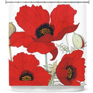 Premium Shower Curtains | Judith Figuiere - 3 Red Poppies | Floral, Flowers