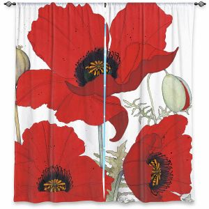 Decorative Window Treatments | Judith Figuiere - 3 Red Poppies | Floral, Flowers
