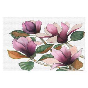 Decorative Floor Covering Mats | Judith Figuiere - 4 Purple Magnolias | Floral, Flowers