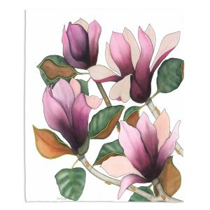 Decorative Fleece Throw Blankets | Judith Figuiere - 4 Purple Magnolias | Floral, Flowers