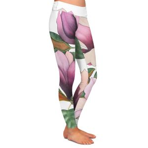 Casual Comfortable Leggings | Judith Figuiere - 4 Purple Magnolias | Floral, Flowers